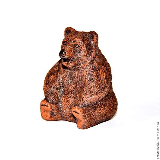 Статуэтки ручной работы. Ярмарка Мастеров - ручная работа. Купить Фигура Сибирского Медведя из натуральной глины #М1. Handmade. коричневый