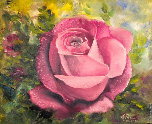 Картины цветов ручной работы. Ярмарка Мастеров - ручная работа. Купить Картина маслом Роза. Handmade. Розовый, сиреневый, роза