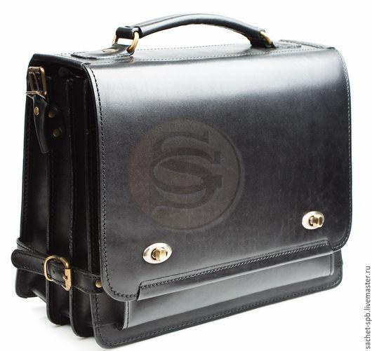 """Мужские сумки ручной работы. Ярмарка Мастеров - ручная работа. Купить Кожаный портфель """"Юзер 12-а"""" черный. Handmade."""