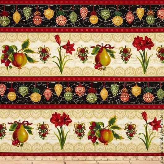 Шитье ручной работы. Ярмарка Мастеров - ручная работа. Купить Бордюрная ткань для пэчворка Рождественский цветок. Handmade. Ткань хлопок