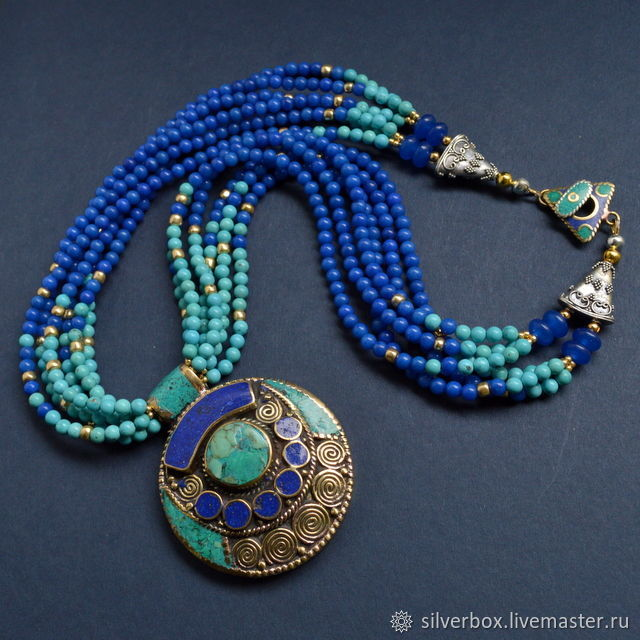 Necklace turquoise Necklace lapis lazuli  Ethnic style BLUE Handmade  Buy necklace as a gift Buy fashionable necklace