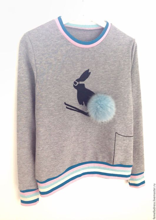 Кофты и свитера ручной работы. Ярмарка Мастеров - ручная работа. Купить Свитшот зайчик-лыжник. Handmade. Серый, свитшот, кролик