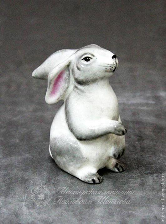 Сувениры ручной работы. Ярмарка Мастеров - ручная работа. Купить Заяц. Handmade. Серый, белый, Заяц ручной работы, майолика