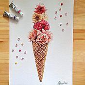 """Картины и панно ручной работы. Ярмарка Мастеров - ручная работа """"Цветочное мороженое"""". Handmade."""