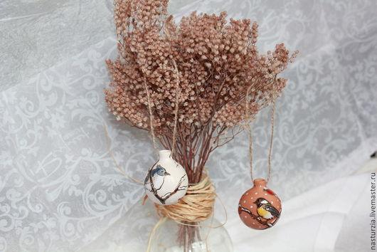 Новый год 2017 ручной работы. Ярмарка Мастеров - ручная работа. Купить Шар елочный керамический Мини. Handmade. Белый, елка