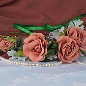 Свадебный салон ручной работы. Ярмарка Мастеров - ручная работа Венок с розами.Свадебный венок.Ободок с розами из фоамирана. Handmade.