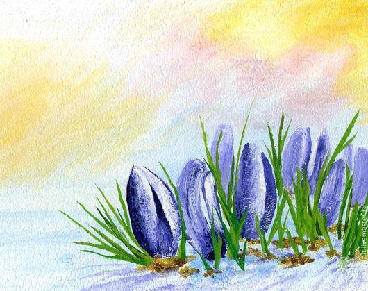 """Картины цветов ручной работы. Ярмарка Мастеров - ручная работа. Купить картина """"Подснежники-первые цветы"""" (фиолетовый, желтый). Handmade."""