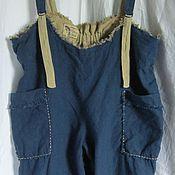 Одежда ручной работы. Ярмарка Мастеров - ручная работа брюки штаны на лямочках комбинезон, из варёного льна большой размер. Handmade.
