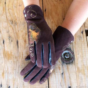 "Accessories handmade. Livemaster - original item Brown women leather gloves.Unique design ""Amber"" Size 8.5. Handmade."