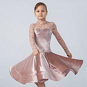 Работы для детей, handmade. Livemaster - original item Basic (juvenal) dress for ballroom dance. Powder. Handmade.