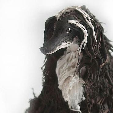 """Для дома и интерьера ручной работы. Ярмарка Мастеров - ручная работа Фигурка """"Афганская борзая"""" (статуэтка собаки, черно-белое). Handmade."""