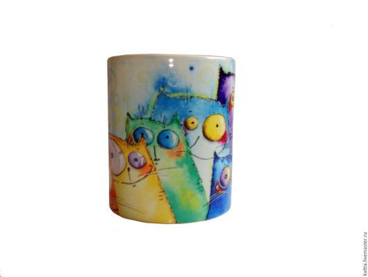"""Кружки и чашки ручной работы. Ярмарка Мастеров - ручная работа. Купить Кружка """"Цветные коты"""". Handmade. Комбинированный, подарок"""