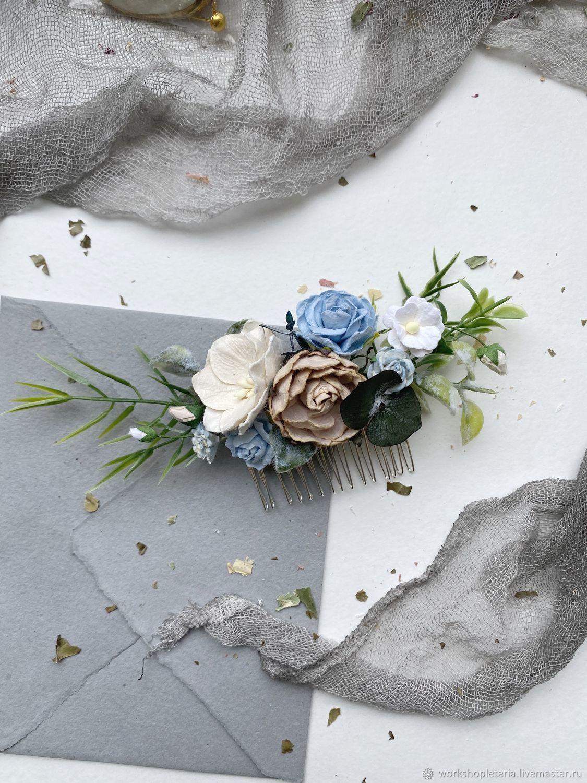 Цветочный гребень ручной работы с розами и пионом, прическа невесты, Украшения для причесок, Санкт-Петербург,  Фото №1