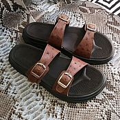 Обувь ручной работы handmade. Livemaster - original item Men`s flip - flops made of genuine ostrich leather, in stock!. Handmade.