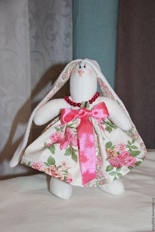 Куклы Тильды ручной работы. Ярмарка Мастеров - ручная работа. Купить Зайка в розовом сарафане. Handmade. Белый, мягкая игрушка