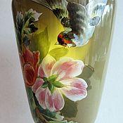 Винтаж handmade. Livemaster - original item 35,5 cm Antique Vase Opal Glass Bohemia Hand Painted 1860e. Handmade.