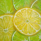Картины и панно handmade. Livemaster - original item Oil painting lemon And lime slices hyperrealism on canvas. Handmade.