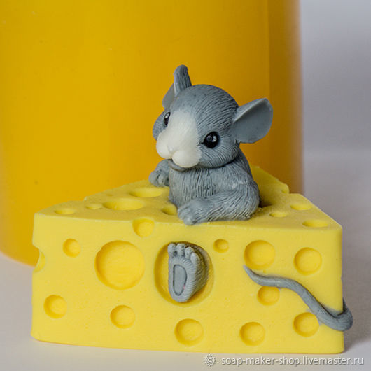 Silicone mold for soap 'mouse in the cheese', Form, Shahty,  Фото №1