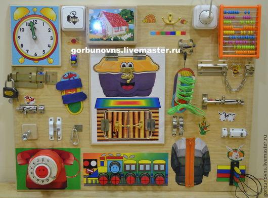 """Развивающие игрушки ручной работы. Ярмарка Мастеров - ручная работа. Купить Бизиборд Развивающий Модуль Доска  """"Универсальный Тренажёр""""+подсветка1. Handmade."""
