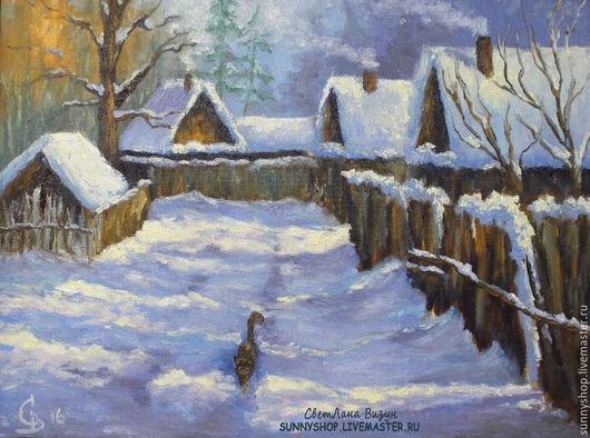 """Пейзаж ручной работы. Ярмарка Мастеров - ручная работа. Купить Картина маслом """"Зимний пейзаж в деревне"""". Handmade. Голубой, зима"""