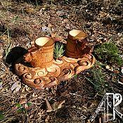 Сувениры и подарки handmade. Livemaster - original item Beer set as a gift wooden beer mugs with a serving tray. Handmade.