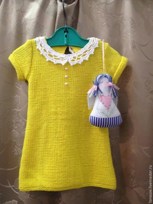 Одежда для девочек, ручной работы. Ярмарка Мастеров - ручная работа. Купить Платье для девочки Ромашка. Handmade. Желтый, платье вязаное