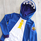 Одежда детская handmade. Livemaster - original item Leon Shark hoodie from the game Brawl Stars, anime hoodie custom made. Handmade.