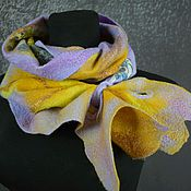 Аксессуары handmade. Livemaster - original item Women`s felted scarf wool felted scarf yellow purple. Handmade.