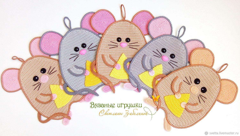 """""""Мышки-сыроеШки"""" вязаные прихватки"""