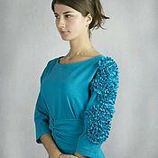 Одежда ручной работы. Ярмарка Мастеров - ручная работа Бирюзовое платье из трикотажа с поясом. Handmade.