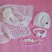 Работы для детей, ручной работы. Ярмарка Мастеров - ручная работа обмотка и повязки из мохера для фотосессии новорожденных, белый. Handmade.