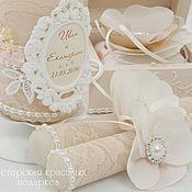 Свадебный салон ручной работы. Ярмарка Мастеров - ручная работа Свадебное оформление свечей:``Магия эйвори``. Handmade.