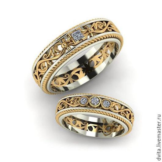 Свадебные украшения ручной работы. Ярмарка Мастеров - ручная работа. Купить Обручальные кольца с бриллиантами. Handmade. Обручальные кольца