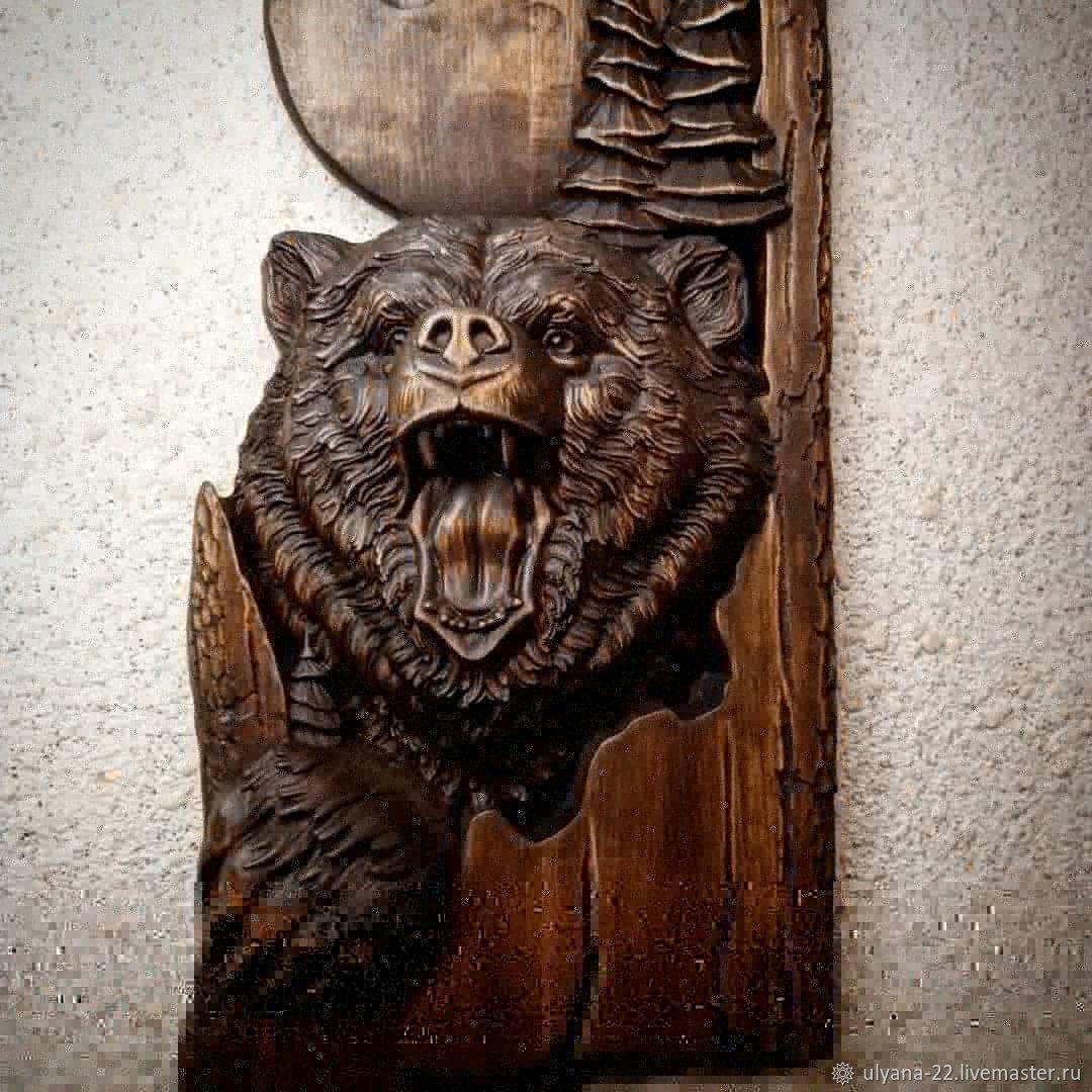 Медведь панно деревянное резное из сибирского кедра – заказать на Ярмарке Мастеров – JHDR4RU | Панно, Кемерово