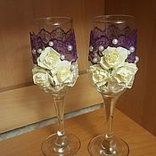 """Свадебный салон ручной работы. Ярмарка Мастеров - ручная работа Свадебные бокалы """"Лиловая ваниль"""". Handmade."""
