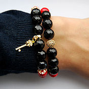 handmade. Livemaster - original item The red and black set of bracelets of agate. Handmade.