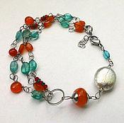 Bead bracelet handmade. Livemaster - original item Bracelet Apatite and carnelian. Handmade.