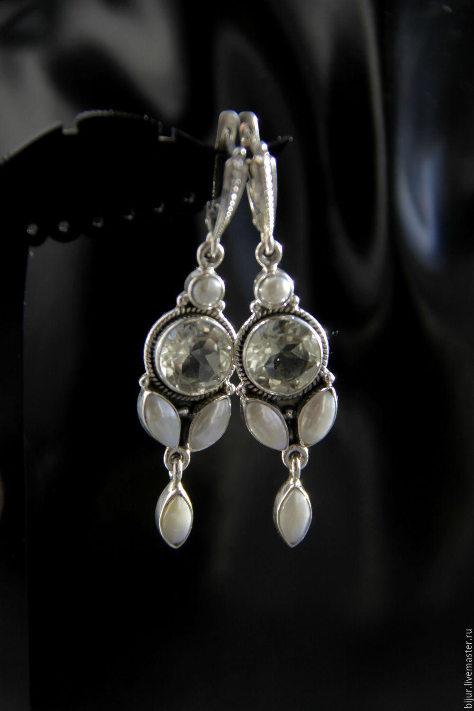 Комплекты украшений ручной работы. Заказать Серебряные серьги с зеленым  аметистом и натуральным жемчугом. Bijur ... 37233506b98