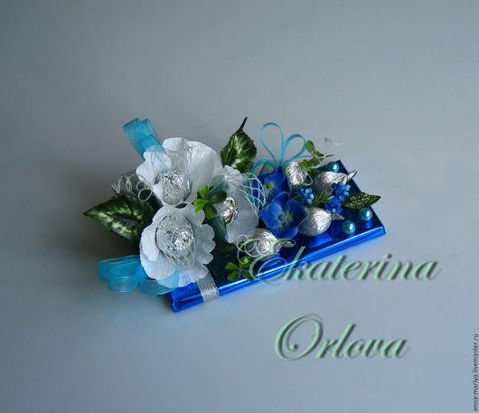 Букеты ручной работы. Ярмарка Мастеров - ручная работа. Купить Шоколадка (синий). Handmade. Мужчине, конфеты, 8 марта подарок
