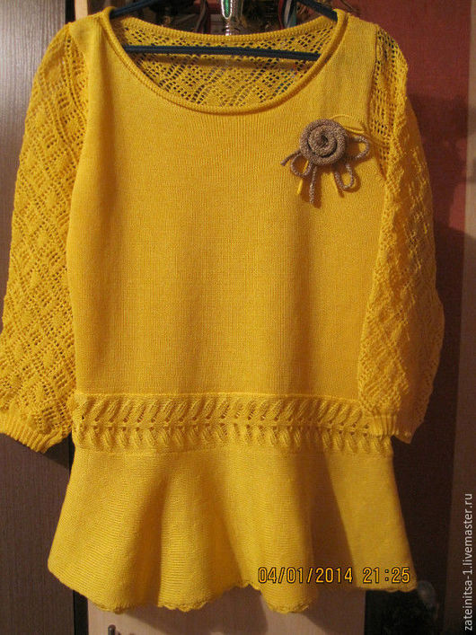 Блузки ручной работы. Ярмарка Мастеров - ручная работа. Купить Блуза с баской и ажурными рукавами. Handmade. Желтый, блузка вязаная