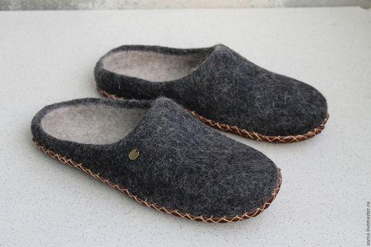 Обувь ручной работы. Ярмарка Мастеров - ручная работа. Купить Тапочки  валяные Сумерки. Handmade. Темно-серый, тапочки женские