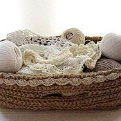 Для дома и интерьера ручной работы. Ярмарка Мастеров - ручная работа Вязаная корзинка из джута. Вязание крючком. Для мелочей. Handmade.