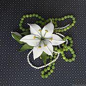 Украшения handmade. Livemaster - original item Brooch Lily of leather with a Bud. Handmade.