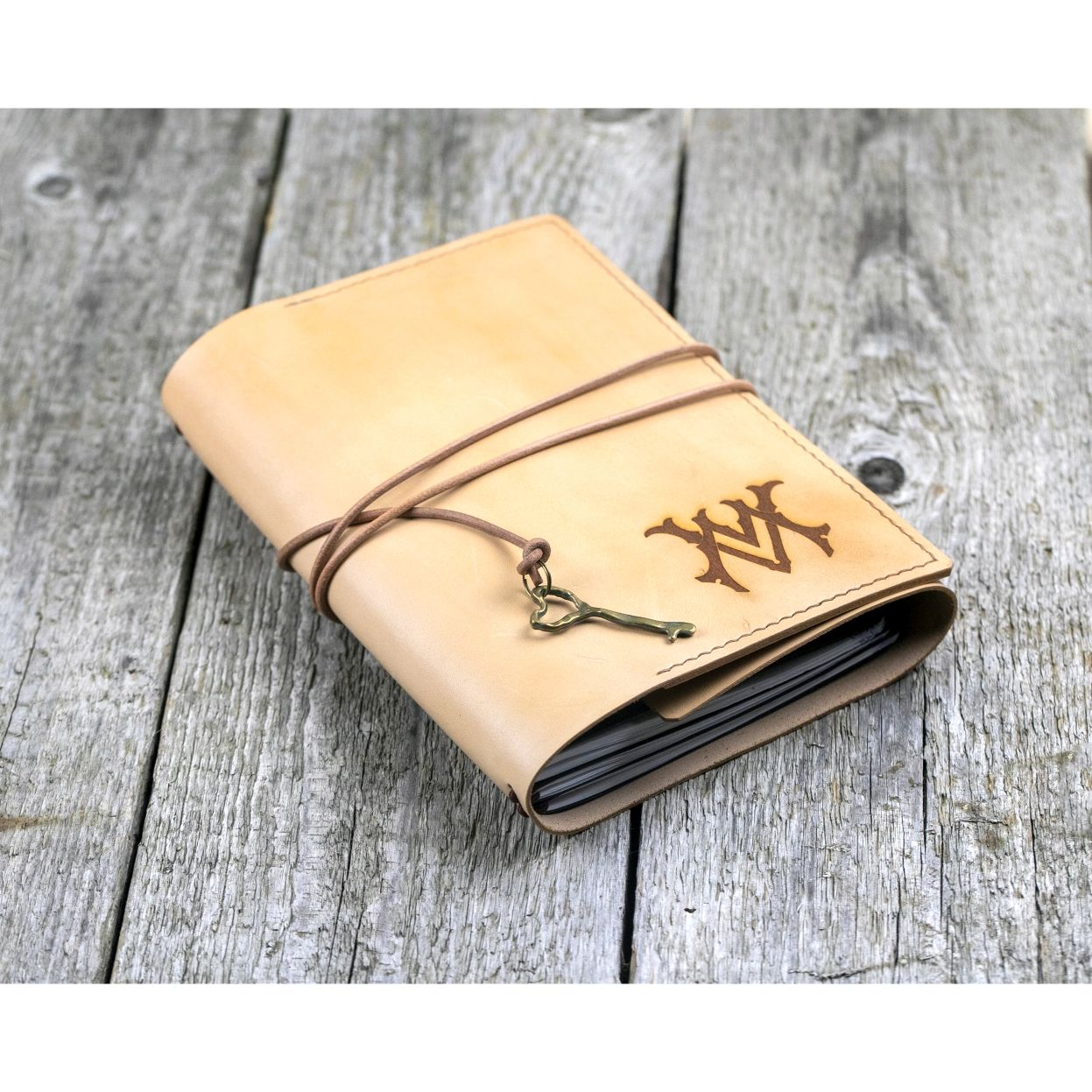 A5 leather notebook with monogrammed initials, Notebooks, Moscow,  Фото №1