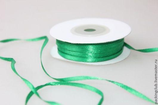Упаковка ручной работы. Ярмарка Мастеров - ручная работа. Купить Лента атласная 03 мм х 1 метр зеленая. Handmade.