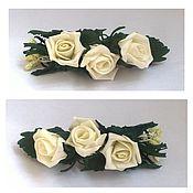 Украшения ручной работы. Ярмарка Мастеров - ручная работа Заколка-автомат с бутонами белых роз.... Handmade.