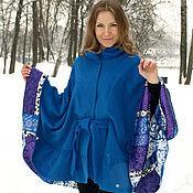 Одежда ручной работы. Ярмарка Мастеров - ручная работа Пончо пальто с рюшей синее. Handmade.