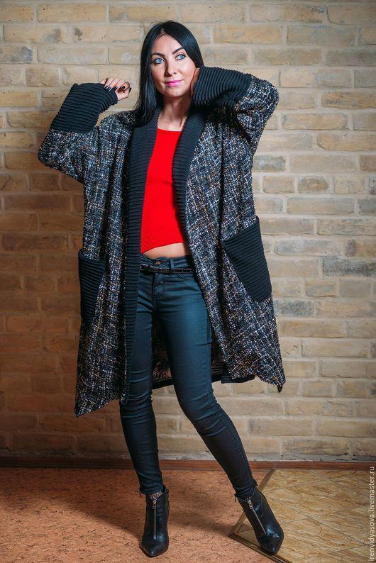 """Пиджаки, жакеты ручной работы. Ярмарка Мастеров - ручная работа. Купить Пальто""""Милан"""". Handmade. Черный, пальто с ламой, Красивое пальто"""