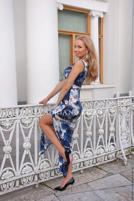 """Платья ручной работы. Ярмарка Мастеров - ручная работа. Купить Платье """"Ариэль"""" - длина Макси- платье с разрезом. Handmade. Синий"""