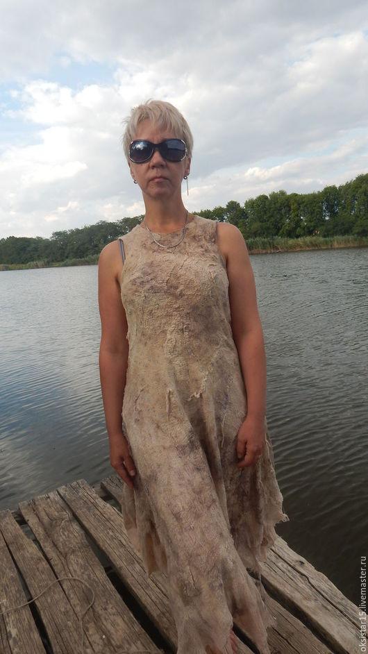 """Платья ручной работы. Ярмарка Мастеров - ручная работа. Купить Валяное платье """"У реки"""". Handmade. Комбинированный, платье на лето"""